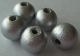 Houten kraal zilver parelmoer