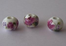 Porseleinen kraal rondel met roze bloem
