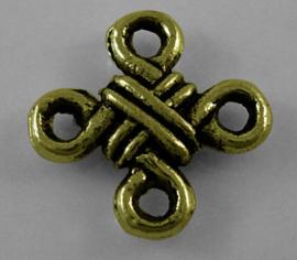 Connector antiek bronskleur chinese knoop, 8 stuks