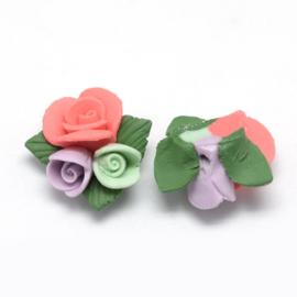 Porceleinen bloemkraal groen-oranje-paars