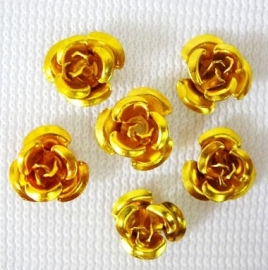 Aluminium roosjes 6mm goud, 25 stuks