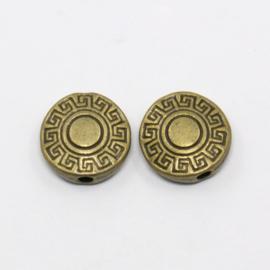 Plat ronde metalen kraal met grieks randje