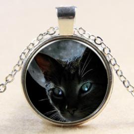 Ketting zwarte kat bij maan