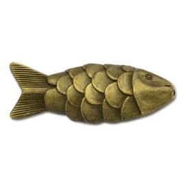 Grote metalen kraal vis in antiek bronskleur