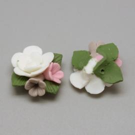 Porceleinen rooskraal wit-lila-roze