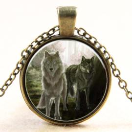Ketting witte en grijze wolf