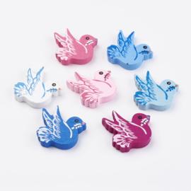 Houten kraal vredesduif in diverse kleuren