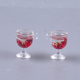 Resin hanger rood glitterwijntje