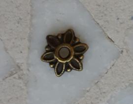 Kralenkapjes 6 petals antiek brons, 20 stuks