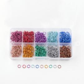 Opbergdoosje met aluminium buigringen mixed color