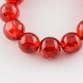 Cracklekraal in helder rood 8mm, 20 stuks