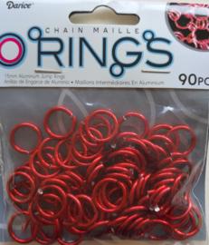 aluminium chain maille 15 x 2 mm, rood