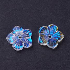 Electroplate glass bloempje met AB-color