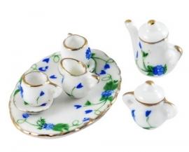 Poppenhuis serviesje wit met blauwgroene print
