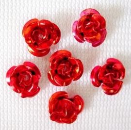 Aluminium roosjes 6mm rood, 25 stuks