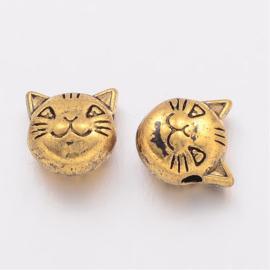 Metalen kraal kattekop in antiek goudkleur
