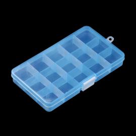 Plastic sorteer / opbergbox transparant blauw 15 vakjes