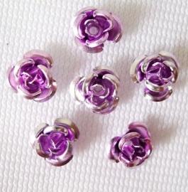 Aluminium roosjes 6mm lila, 25 stuks