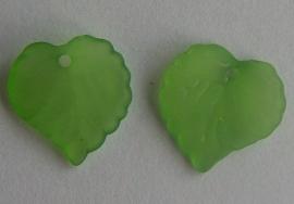 Acryl hanger blaadje frosted groen