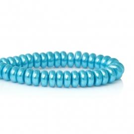 Glaskraal rondel blauw, 25 stuks