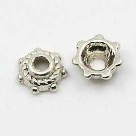 Tibetaans zilveren kralenkapje, 50 stuks