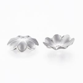 Stainless steel kralenkapje bloem, 8 stuks