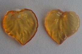 Acryl hanger blaadje transparant oranje