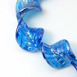 Lampwork kraal blad blauw