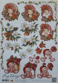 Knipvel Amy Design Kerst meisje en beertjes