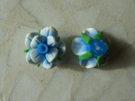 Fimo kraal roosje gemeleerde kleur, blauw