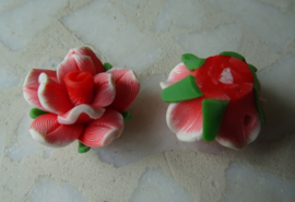 Fimo kraal roosje gemeleerde kleur, rood
