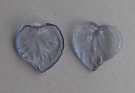 Acryl hanger blaadje transparant blauw