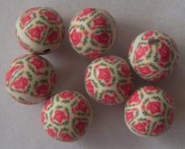 fimo kraal 10mm met rode roosjes