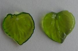 Acryl hanger blaadje transparant groen