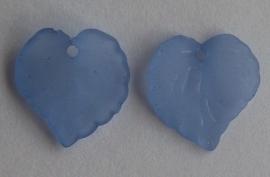 Acryl hanger blaadje frosted blauw