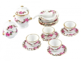 Poppenhuis serviesje wit met roze print
