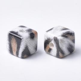 Acryl kubuskraal 15mm met dierenprint