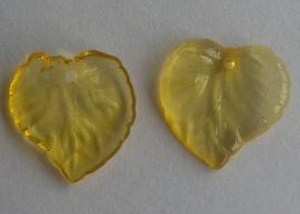 Acryl hanger blaadje transparant geel