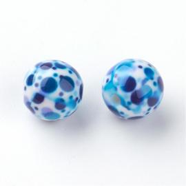 Resin kraal 10 mm met blauwe spikkels