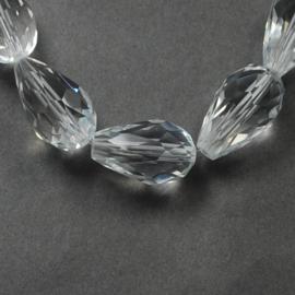 Glaskraal druppel 15x10 crystal, 6 stuks