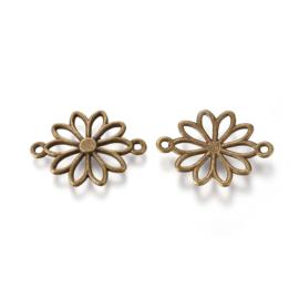 Connector bloem margriet in antiek bronskleur