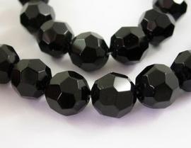 Glaskraal facet rond 10 mm zwart