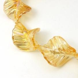 Lampwork kraal blad goud/champagne