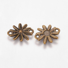 Connector antiek bronskleur madeliefje