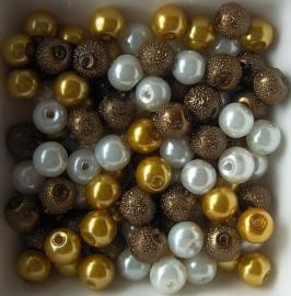 Mix van 6mm glasparels ivoo/goud/bruin, 100 stuks