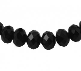 Glazen facetkraal rondel zwart, 10 x 7 mm