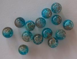 Cracklekraal in blauw/bruin 8mm, 20 stuks