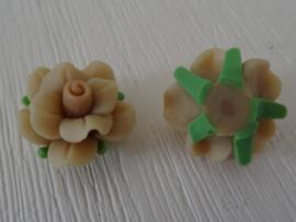 Fimo kraal roosje gemeleerde kleur, lichtbruin