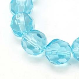 Glaskraal facet rond 10 mm aquablauw