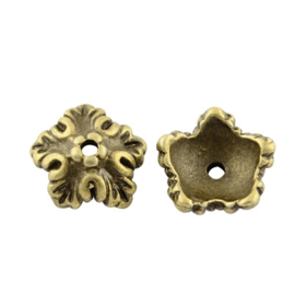 Kralenkapje 5 petals antiek brons, 12 stuks